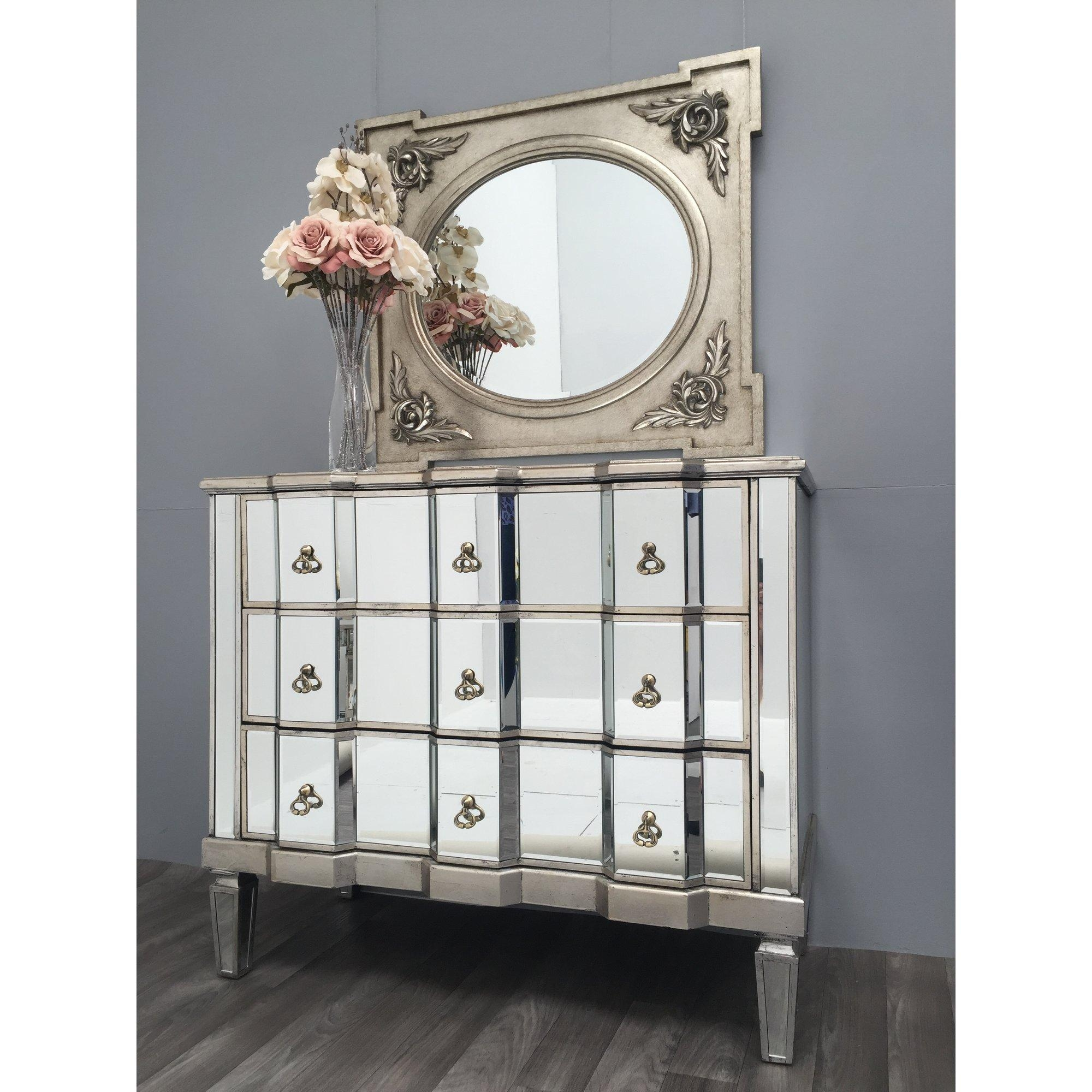 Bedroom Furniture Sets : Mirrored Side Chest Tall Mirrored Inside Antique Mirrored Furniture (Image 5 of 20)