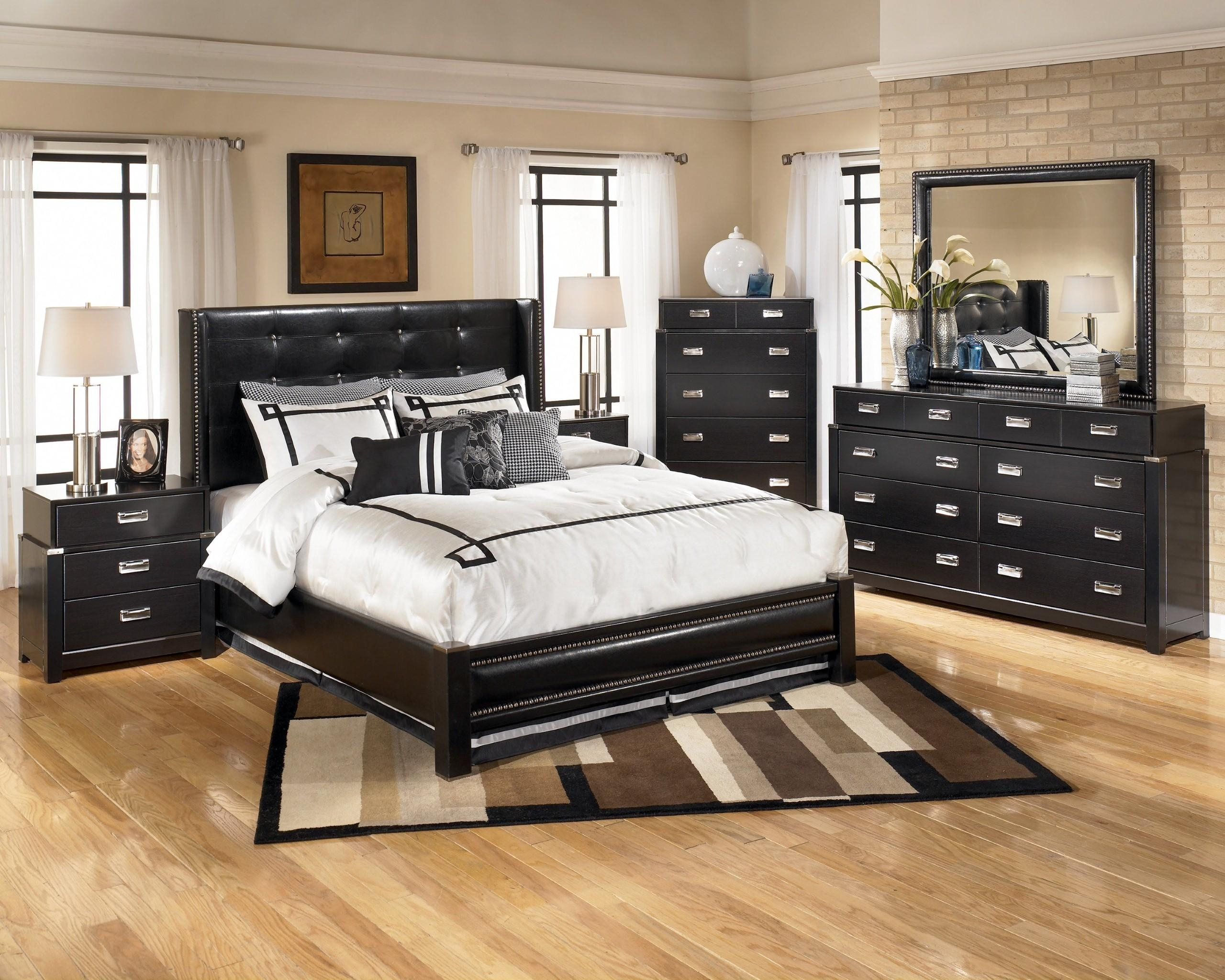Bedroom : Large Black Bedroom Furniture Marble Wall Decor Floor Throughout Black Faux Leather Mirror (View 11 of 20)