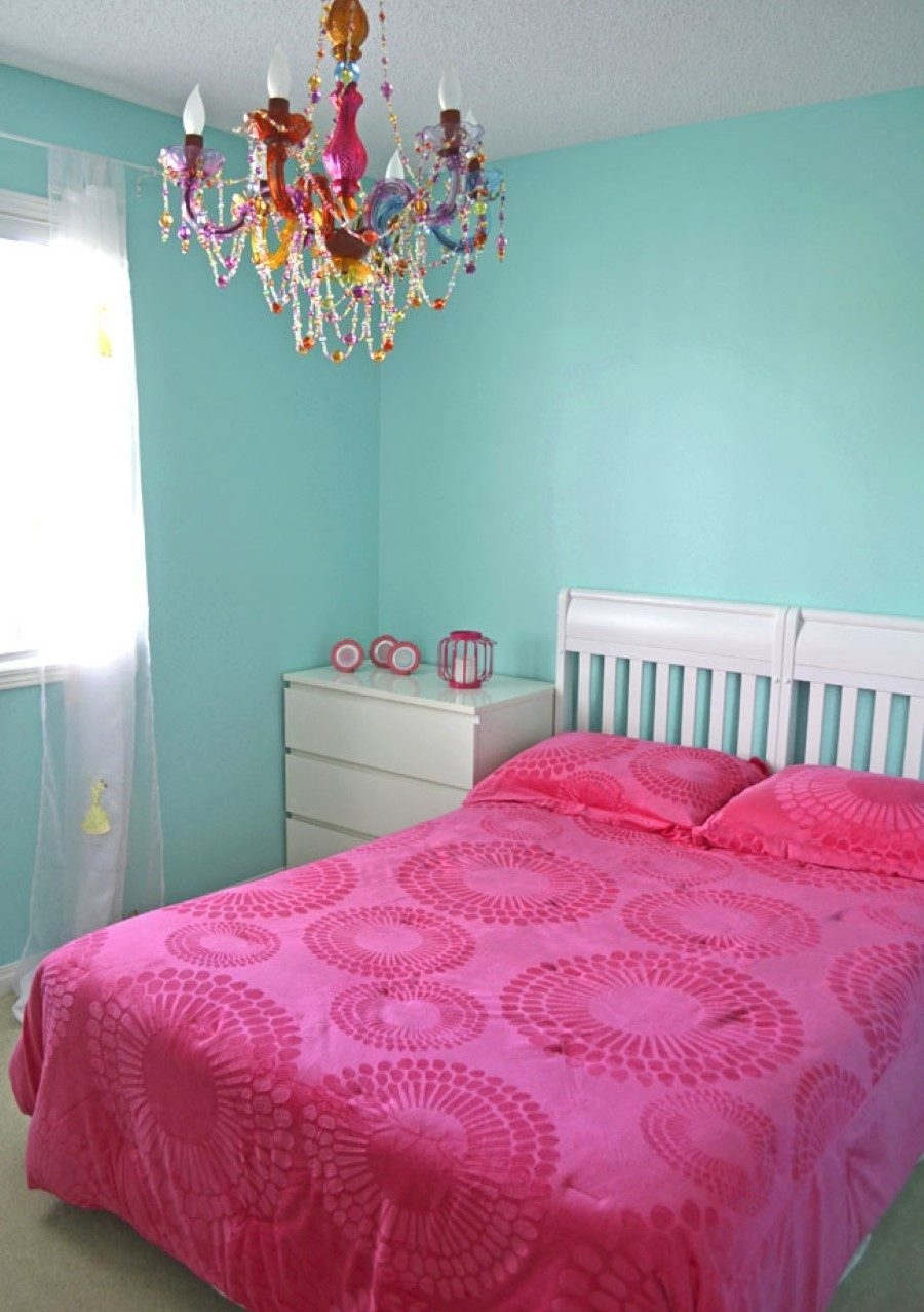 Bedroom Narrow With Turquoise And Pink Accent Plus White Pictures Throughout Turquoise And Pink Chandeliers (View 16 of 25)