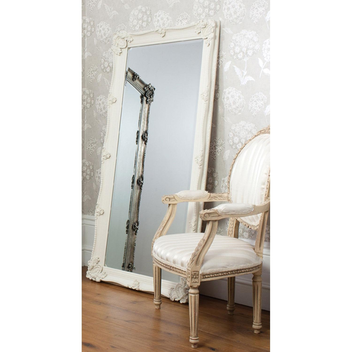 Bedroom: Sergio Leaner Mirror In Antique Gold Finish M3105Bec For Regarding White Baroque Floor Mirror (Image 7 of 20)