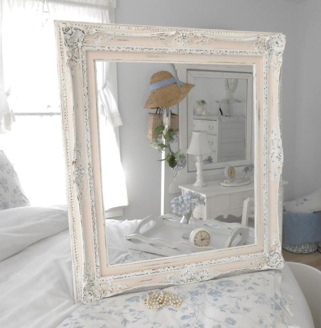 Bedroom: Shabby Chic Bedroom Ideas Brown Floors Contemporary Within Large Shabby Chic Mirror White (Image 4 of 20)
