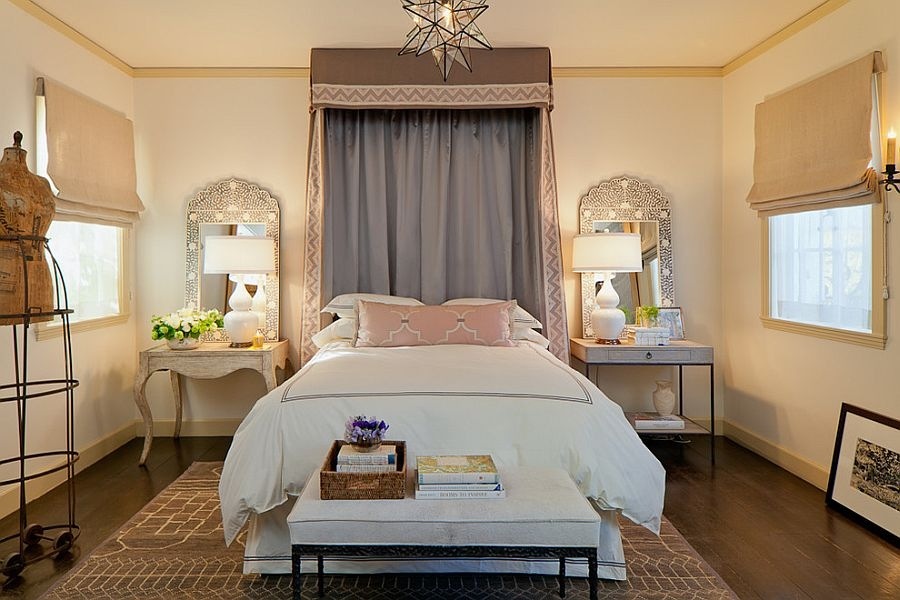 Bedrooms Mediterranean Bedroom With Double Modern Table Lamps In Chandelier Night Stand Lamps (Image 10 of 25)