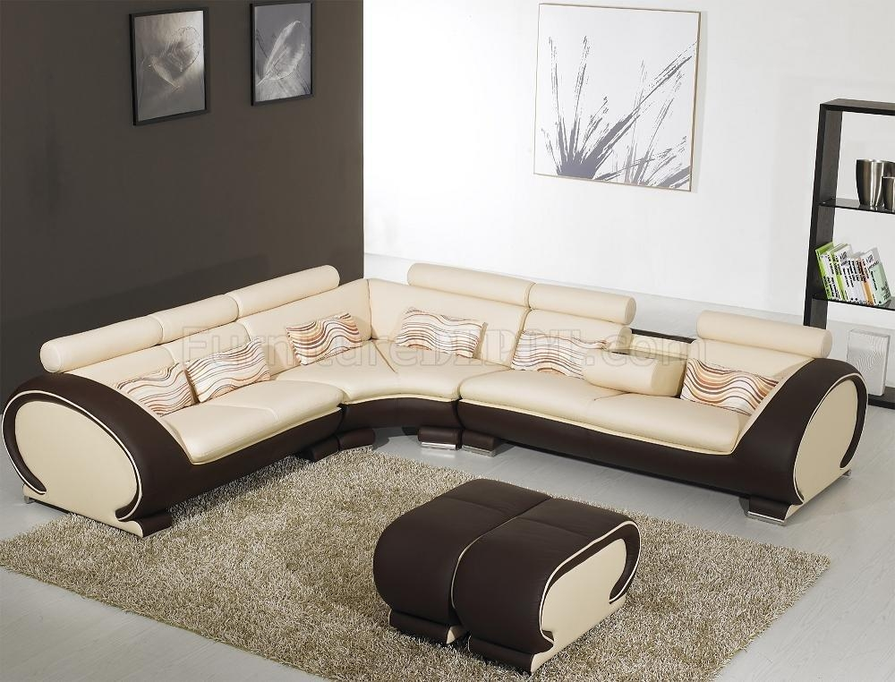 Beige Leather Modern Sectional Sofa Dark Brown Sides Yi 816 With Leather Modern Sectional Sofas (View 14 of 20)