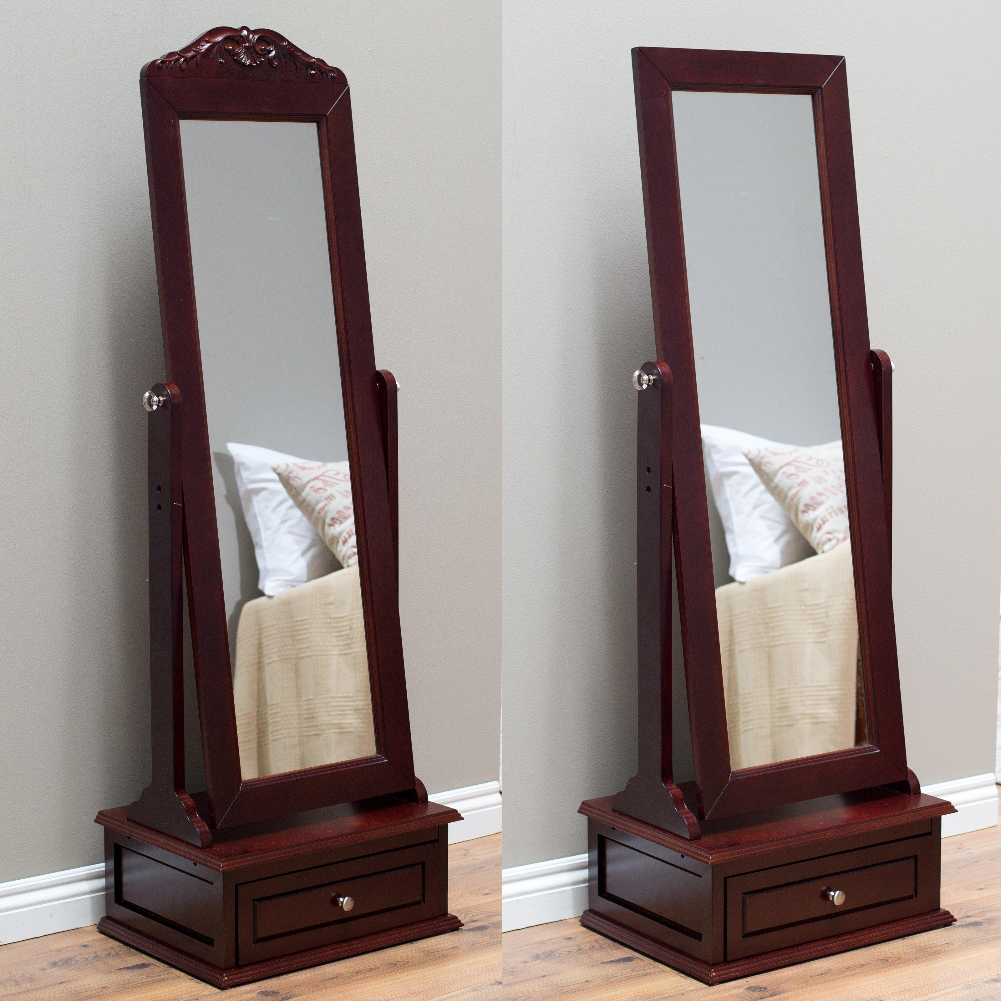 Belham Living Removable Decorative Top Cheval Mirror – Cherry For Full Length Cheval Mirror (Image 4 of 20)