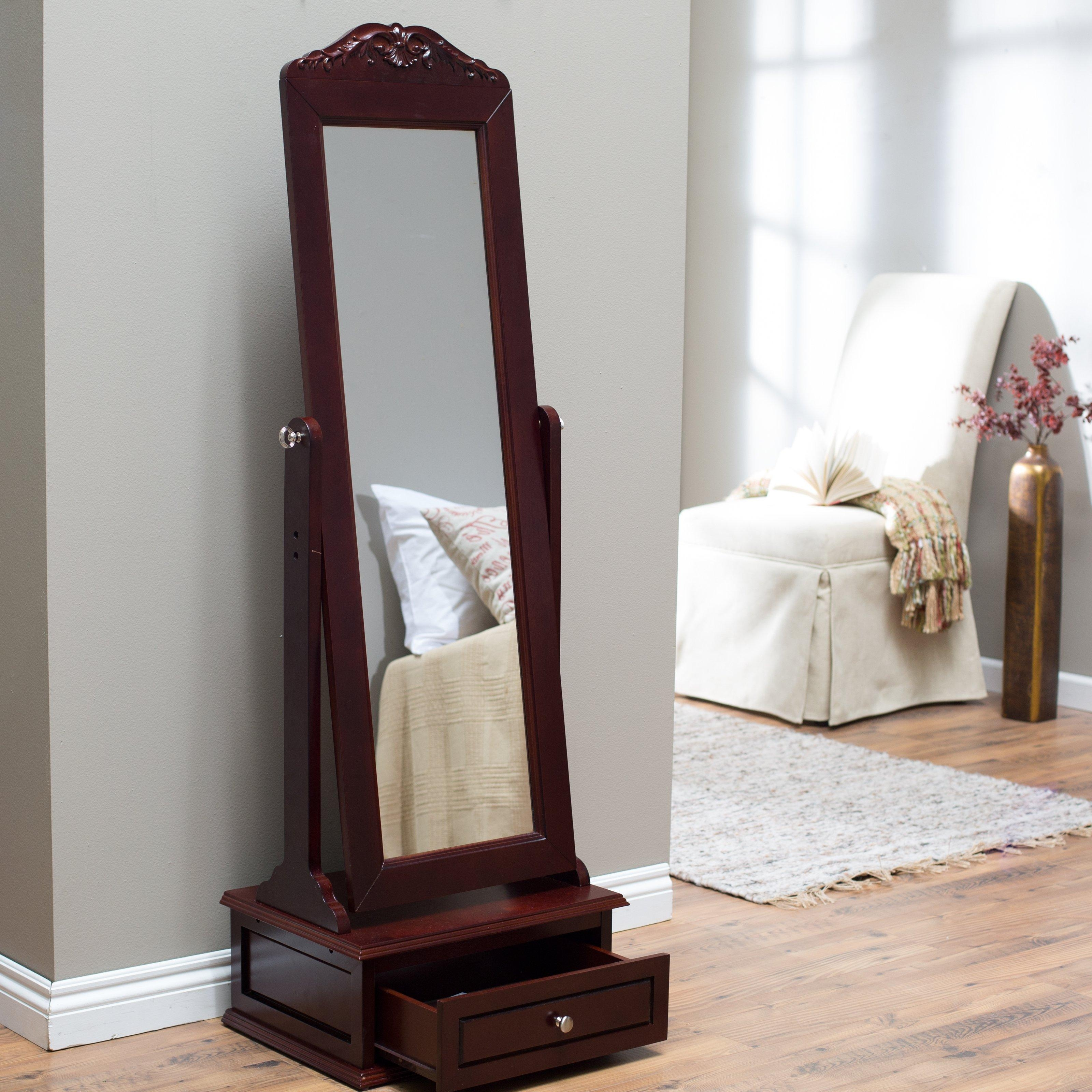 Belham Living Removable Decorative Top Cheval Mirror – Cherry Pertaining To Cheval Mirror (Image 3 of 20)