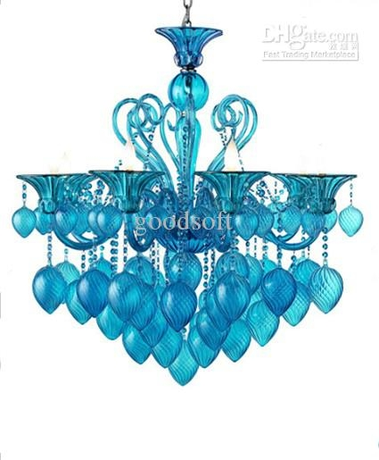 Bella Vetro 8lights 36 Aqua Blown Glass Chianti Chandelier Blue Regarding Turquoise Blown Glass Chandeliers (Image 5 of 25)