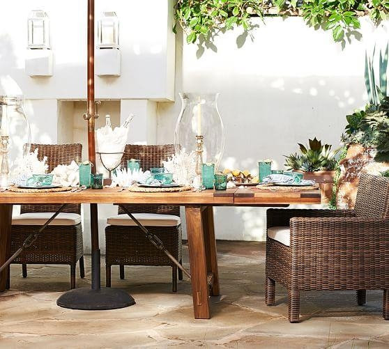 Benchwright Outdoor Rectangular Extending Dining Table | Pottery Barn For Extending Rectangular Dining Tables (Image 4 of 20)