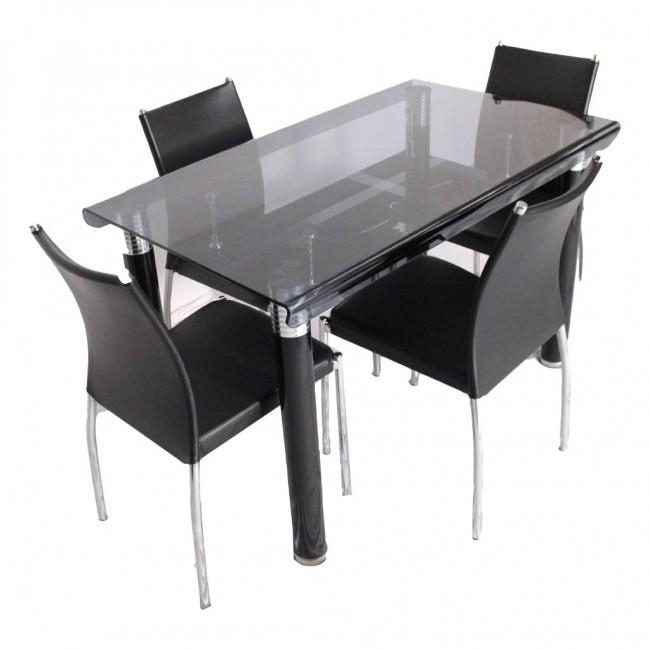 Bent 4 Seater Glass Top Dining Table Set – Woodys Furniture Regarding 4 Seat Dining Tables (Image 7 of 20)
