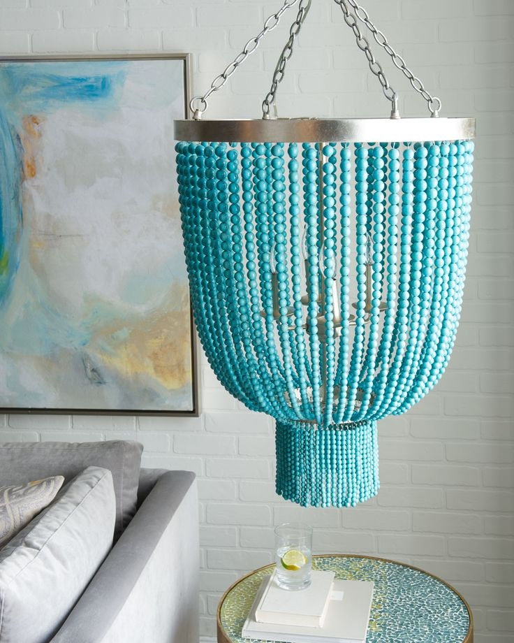 Best 20 Turquoise Chandelier Ideas On Pinterest French Bistro Intended For Turquoise Blue Beaded Chandeliers (Image 11 of 25)