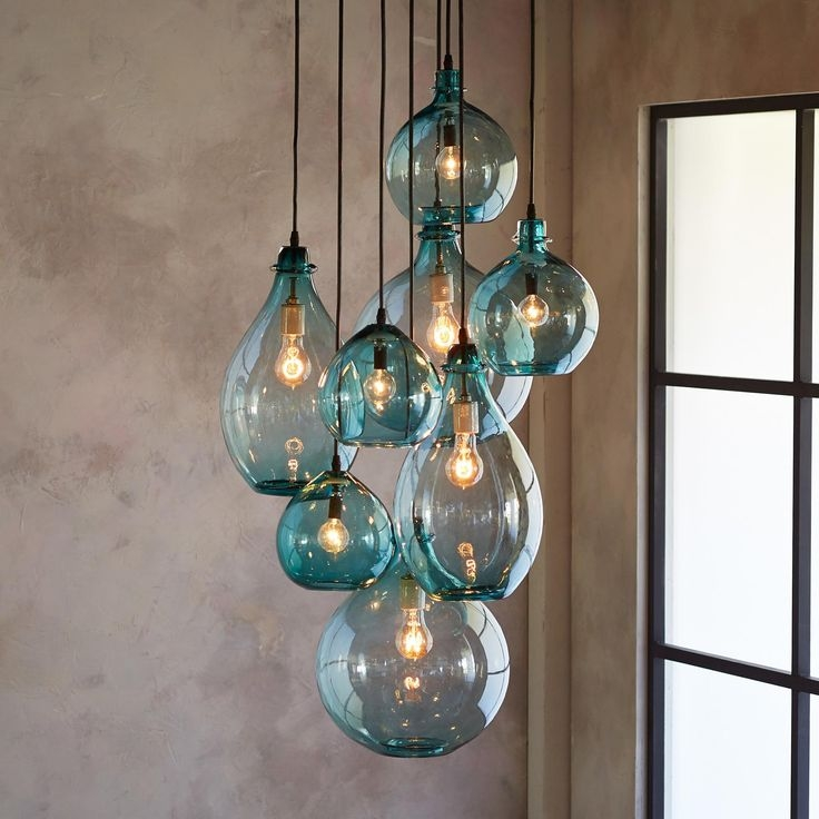 Featured Image of Turquoise Blown Glass Chandeliers