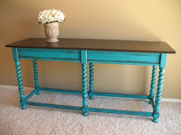 Best 25+ Distressed Turquoise Furniture Ideas On Pinterest Pertaining To Blue Sofa Tabless (Image 6 of 20)