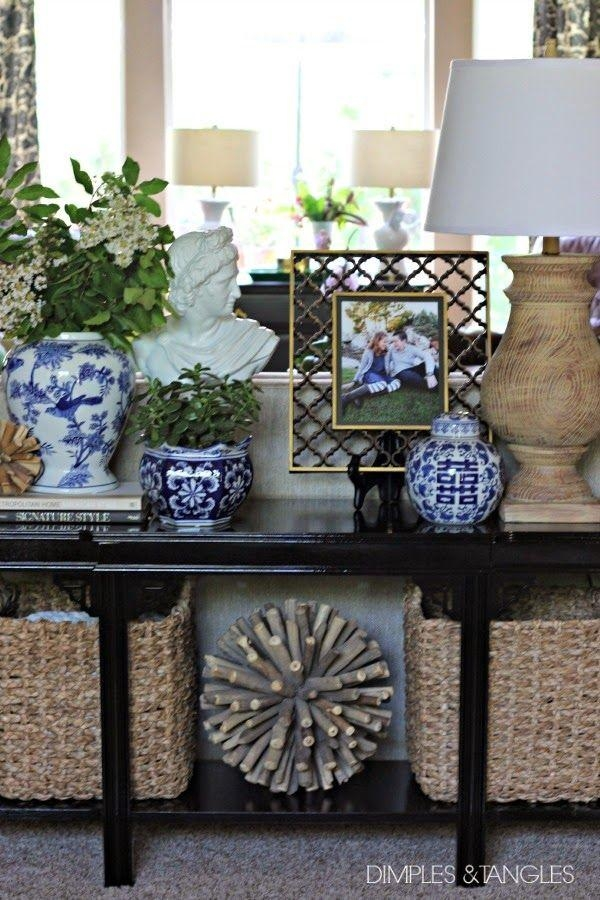 Best 25+ Sofa Table Styling Ideas On Pinterest | Entry Table Intended For Blue Sofa Tabless (Image 8 of 20)