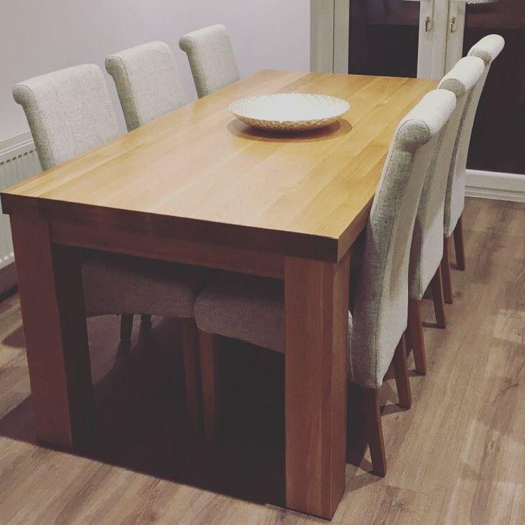 20 Photos Chunky Solid Oak Dining Tables and 6 Chairs ...