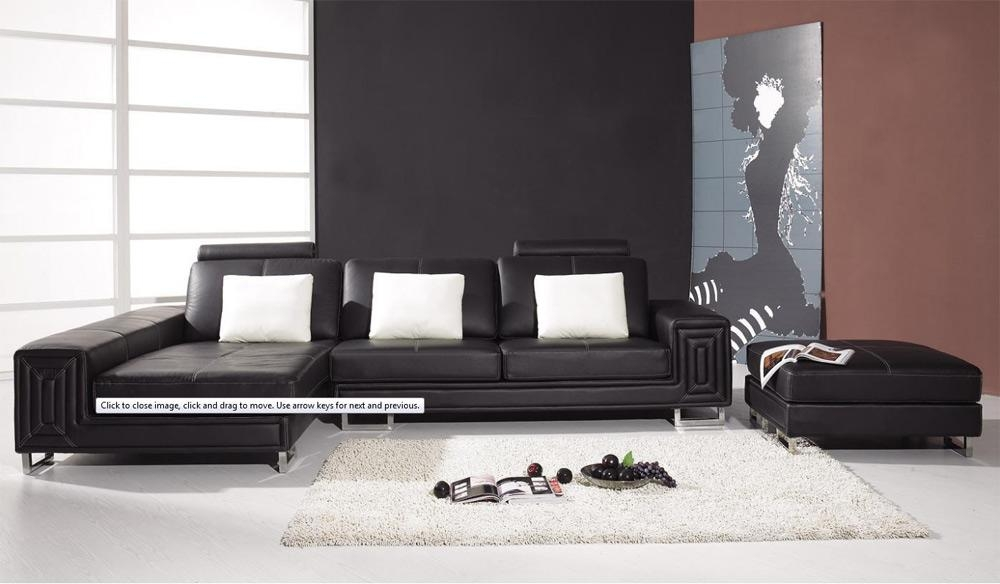 Best Contemporary Black Leather Sofa With Integrated Image 6 Of 19 In Contemporary Black Leather Sofas (View 13 of 20)