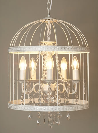 Bhs Vintage Ron Cage Chandelier White Bridcage With Regard To Turquoise Birdcage Chandeliers (View 9 of 25)