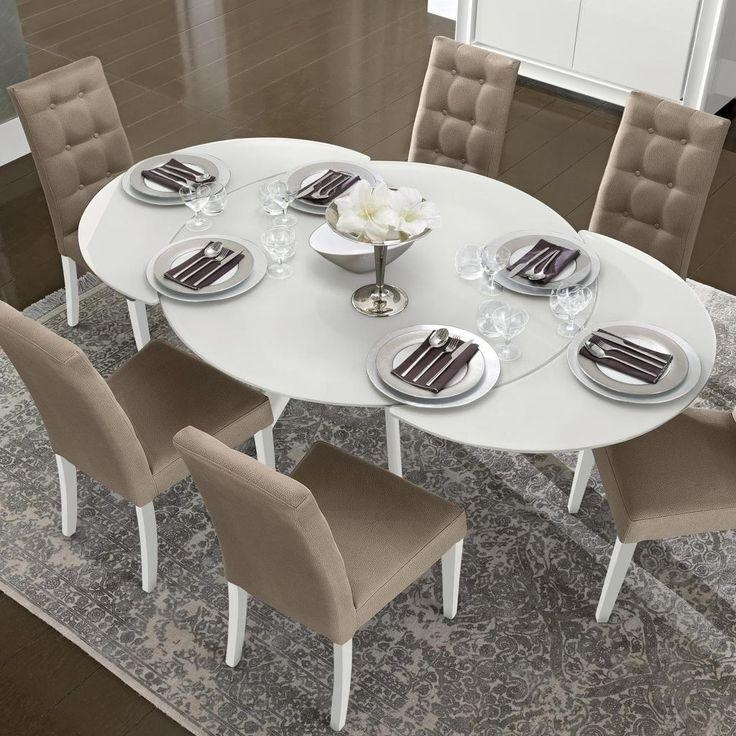 Bianca White High Gloss & Glass Round Extending Dining Table  (Image 2 of 20)