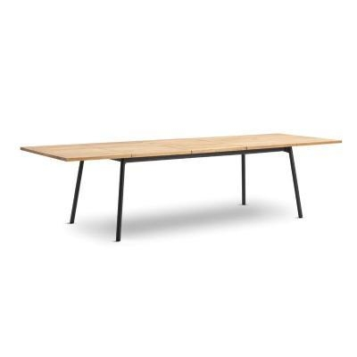 Bitta Rectangle Modern Outdoor Dining Table With Teak Top Within Outdoor Extendable Dining Tables (Image 6 of 20)