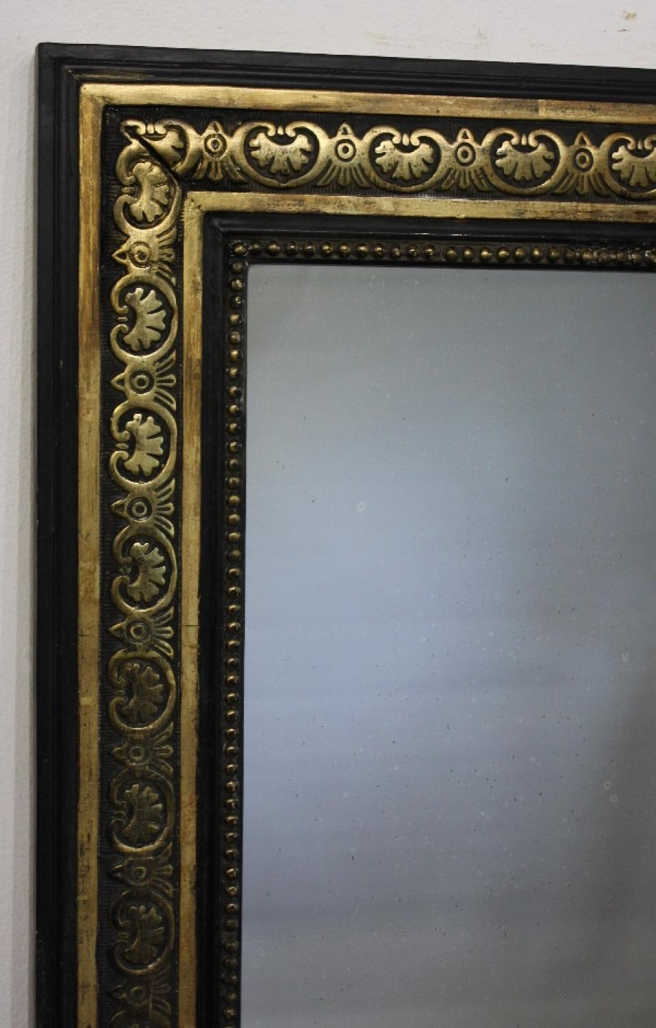 Black And Gold Framed Rectangular Mirror In Black Antique Mirror (Image 5 of 20)