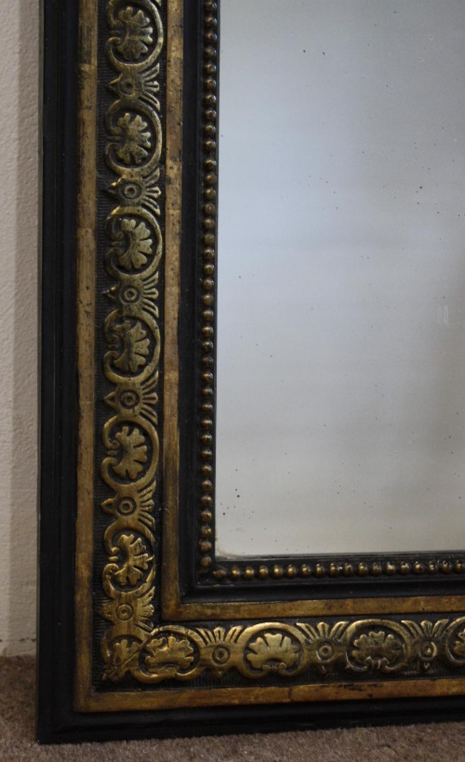 Black And Gold Framed Rectangular Mirror With Black Antique Mirror (Image 6 of 20)