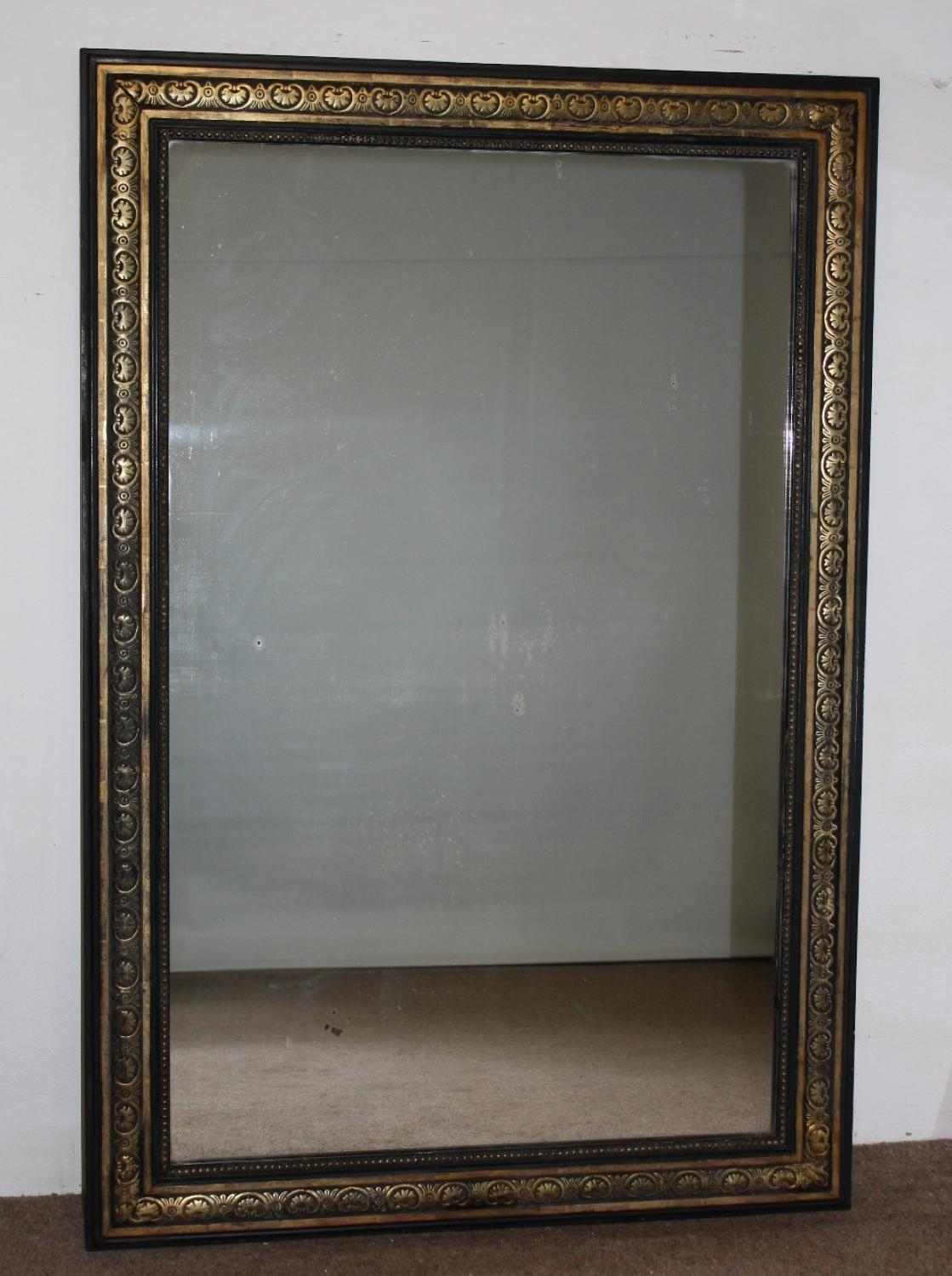 Black And Gold Framed Rectangular Mirror With Regard To Black Antique Mirror (Image 8 of 20)