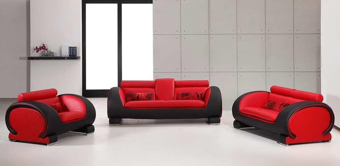 Black And Red Bonded Leather Sofa Set Vg11 | Leather Sofas In Black And Red Sofa Sets (Image 4 of 20)