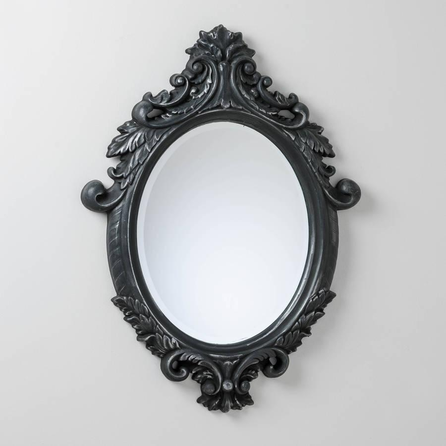 Black And Silver Ornate Oval Mirrorhand Crafted Mirrors In Mirrors Ornate (Image 7 of 20)