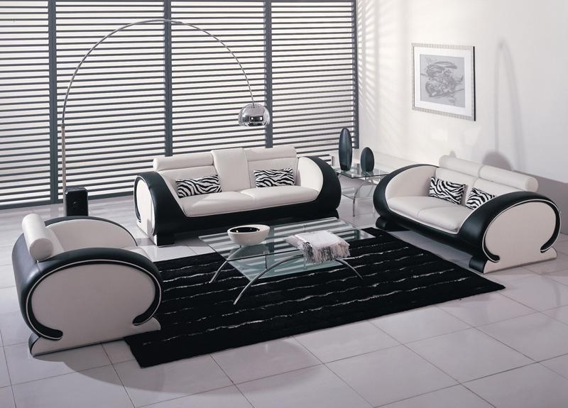 Black And White Bonded Leather Sofa Set Throughout Bonded Leather Sofas (View 20 of 20)