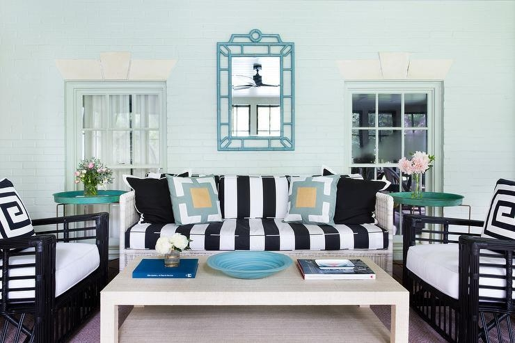Black And White Striped Sofa With Raffia Cocktail Table Pertaining To Blue And White Striped Sofas (Photo 6 of 20)