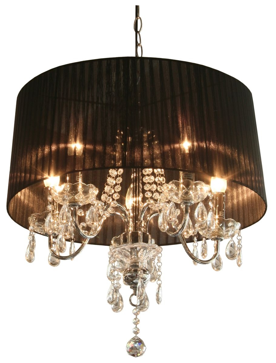 Black Crystal Chandelier With Shade Lavola House Mini Shades Lamp Throughout Chandelier With Shades And Crystals (Image 7 of 25)