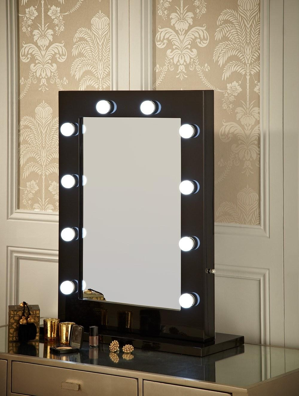 Black Dressing Table With Mirror And Lights | Creative Vanity Inside Illuminated Dressing Table Mirror (View 7 of 20)