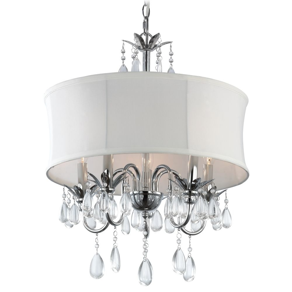 Black Drum Shade Crystal Chandelier Pendant Light 2234 Bk With Regard To Chandelier With Shades And Crystals (Image 9 of 25)