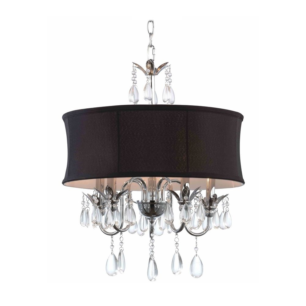 Black Drum Shade Crystal Chandelier Pendant Light 2234 Bk Within Chandeliers With Black Shades (Image 6 of 25)