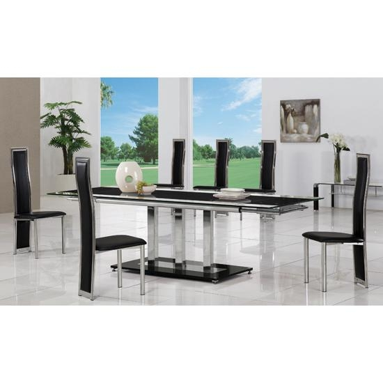 Black Extending Glass Dining Table And 8 G650 Chairs With Extending Glass Dining Tables And 8 Chairs (Image 4 of 20)