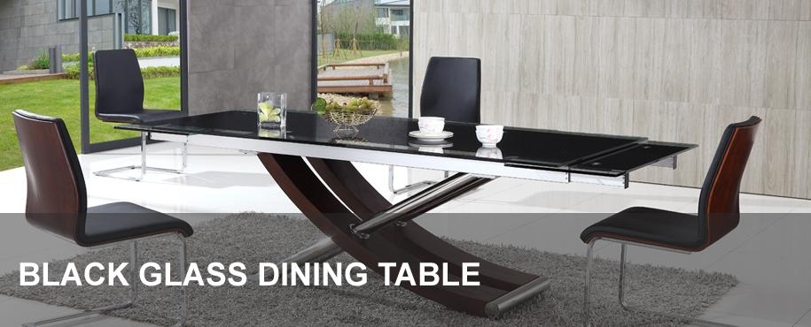 Black Glass Dining Table | Modenza Furniture With Regard To Dining Tables London (Image 7 of 20)