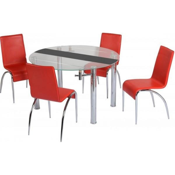 Black Glass Extending Dining Table 4 Chairs – Destroybmx Pertaining To Small Extendable Dining Table Sets (Image 2 of 20)