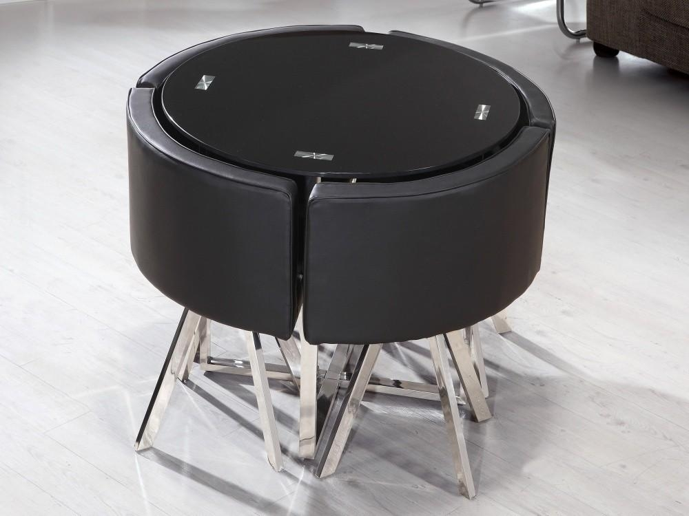 Black Glass Round Dining Table Stowaway 4 Chairs – Starrkingschool Regarding Stowaway Dining Tables And Chairs (View 17 of 20)