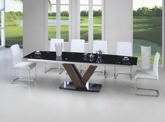 Black Glass Walnut Extending Dining Table  (Image 5 of 20)