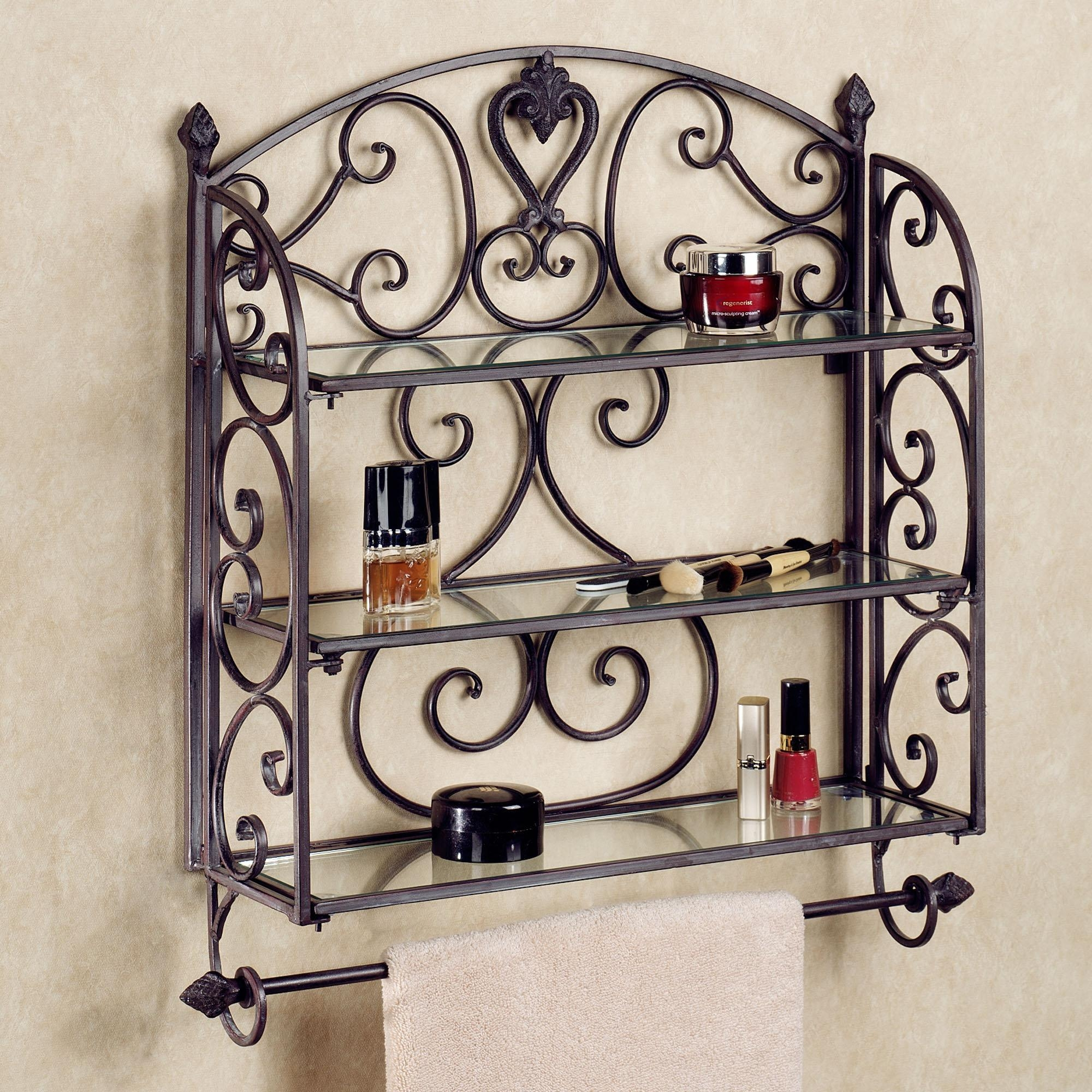 Black Iron Aldabella Tuscany Slate Wall Shelf Towel Bar On White Within Wrought Iron Bathroom Mirrors (Image 9 of 20)