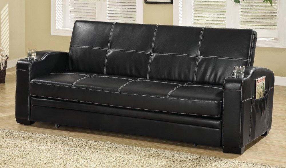 Black Leather Convertible Sofa For Black Leather Convertible Sofas (Image 3 of 20)