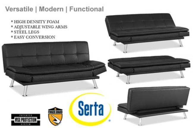 Black Leather Futon Lounger | Niles Serta Euro Lounger | The Futon Inside Euro Lounger Sofa Beds (Image 4 of 20)