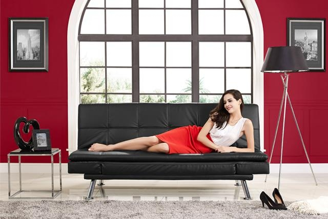 Black Leather Futon Lounger | Niles Serta Euro Lounger | The Futon Intended For Euro Lounger Sofa Beds (Image 5 of 20)