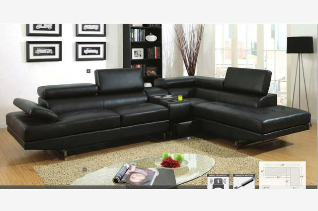 Black Leather Sectional Sofa Stunning Inspiration Modern Black Throughout Contemporary Black Leather Sofas (View 20 of 20)