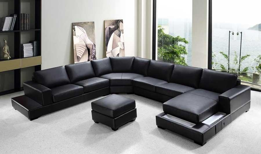 Black Microfiber Sectional Sofa Within Black Microfiber Sectional Sofas (Photo 10 of 20)