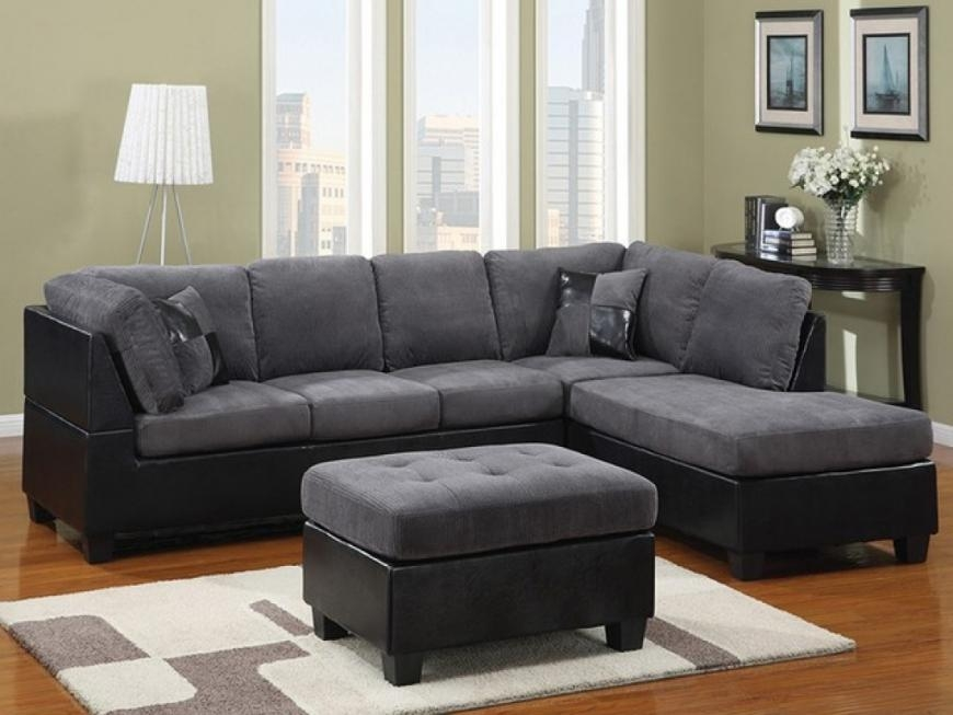 Black Microfiber Sectional Sofa Within Black Microfiber Sectional Sofas (Image 2 of 20)