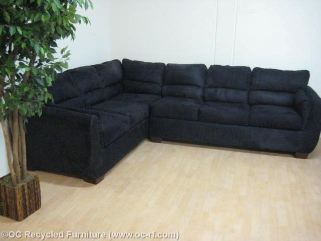 Black Microfiber Sectional With Pullout Bed – Used Furniture Throughout Black Microfiber Sectional Sofas (Image 4 of 20)