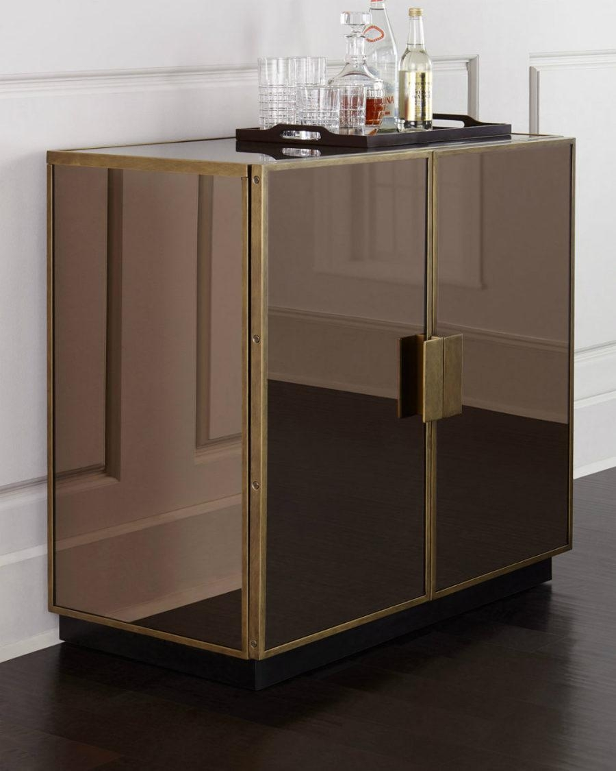 Black Mirrored Bar Cabinet | Vanity Decoration Throughout Black Mirrored Cabinet (Image 4 of 20)
