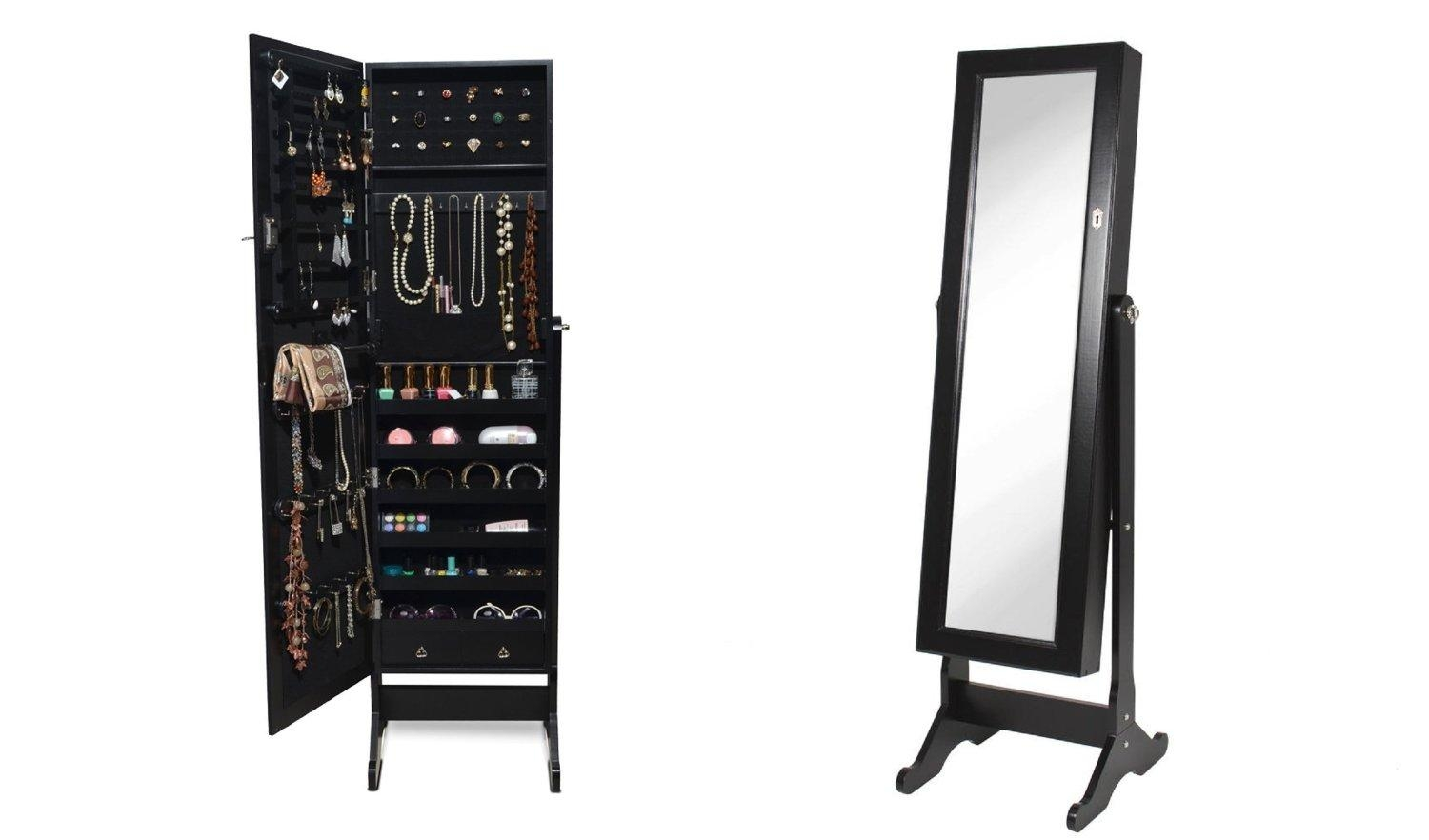 Black Mirrored Jewelry Cabinet – Harpsounds (Image 5 of 20)