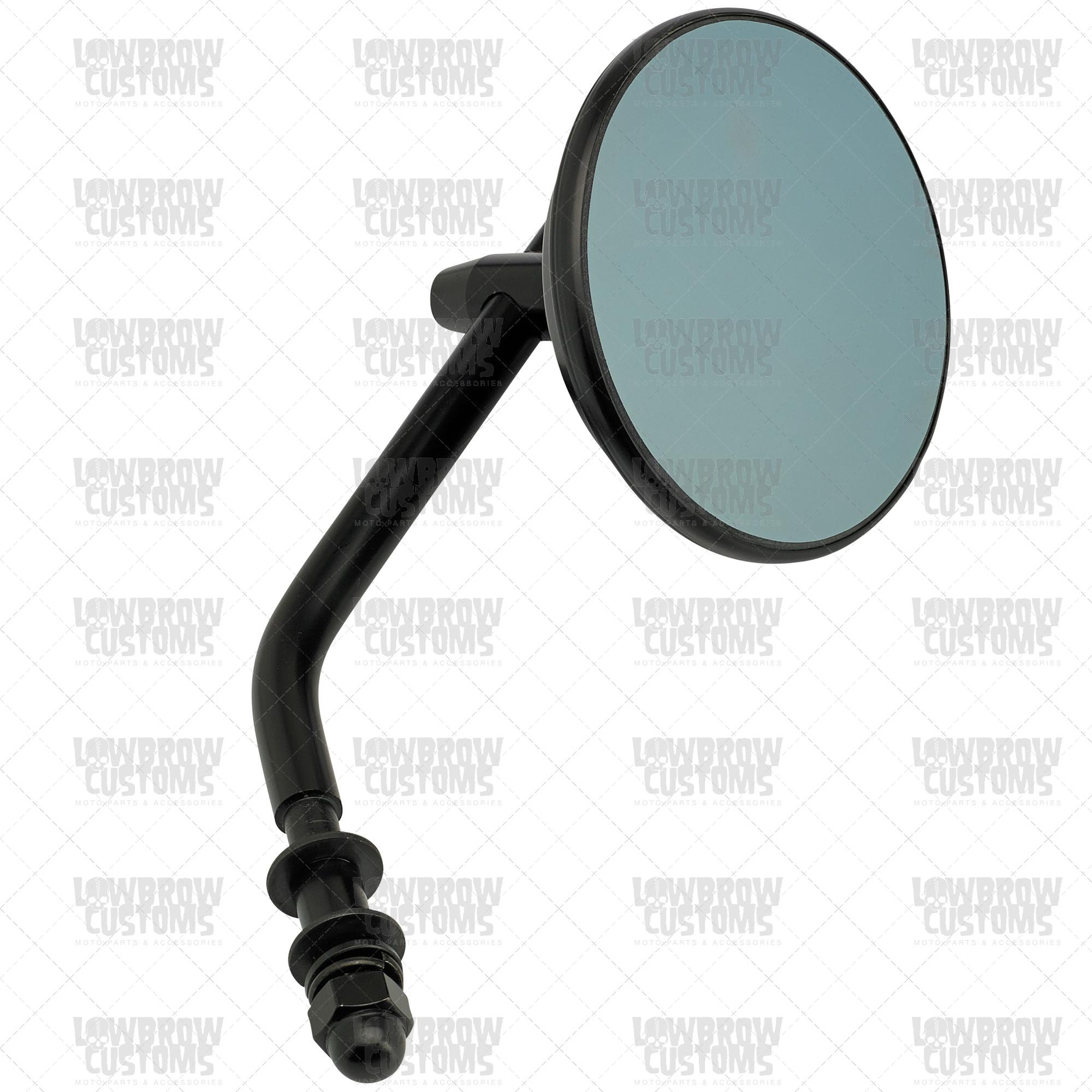 "Black Retro Blue Glass 3"" Round Mirror With Regard To Round Black Mirrors (View 20 of 20)"