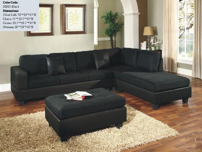 Black Sectional Sofas In Black Microfiber Sectional Sofas (Image 7 of 20)
