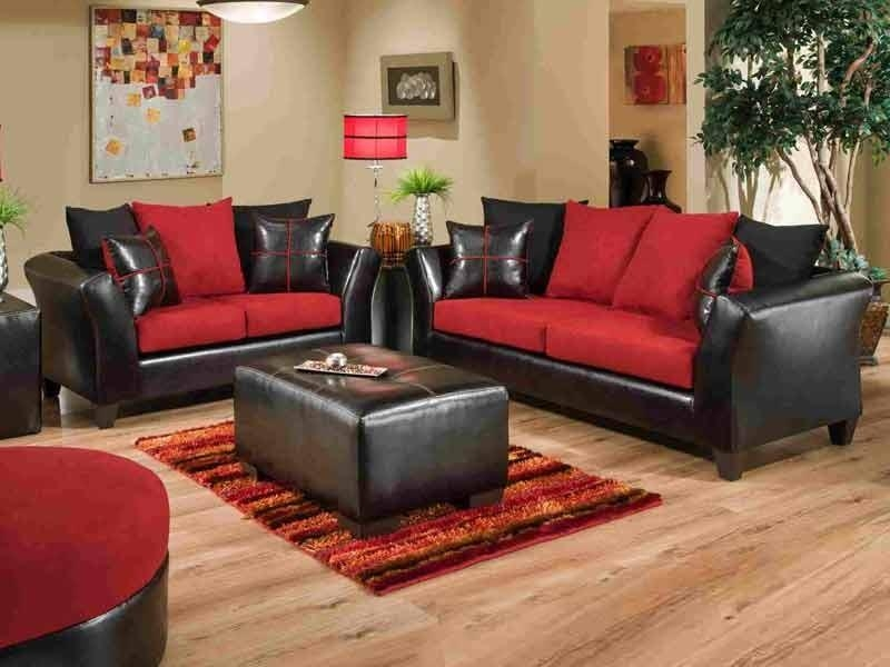 Black/red Sofa & Love Set Intended For Black And Red Sofa Sets (Image 6 of 20)